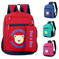2017 new kindergarten middle class schoolbag lovely cartoon 3-7 years old printed bear print backpac red