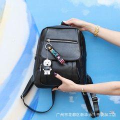 Women`s backpack PU double shoulder computer women`s trend zipper street leisure fashion bag women K black 18 inches