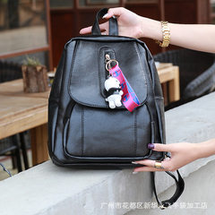 Manufacturer direct sale wholesale tide Korean version of small 100 take backpack female soft leathe black 18 inches