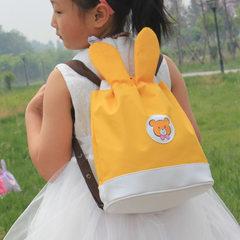 Beaded cartoon children`s backpack bunny children`s bag snacks bag preschool drawstring canvas backp yellow