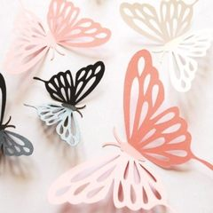 Three-dimensional 3d sculpture hollow-out paper butterfly window home living room wedding background black