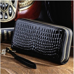 Qimanshi wallet new Korean version of double zipper lady large capacity long purse patent leather ch yellow