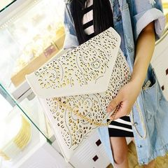 New style retro ethnic women`s bag hollow-out envelope bag hand bag clutch bag hand - held bag porta white