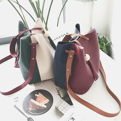 Wholesale women`s bag autumn winter new Korean version pail bag fashion trend single shoulder obliqu White with green