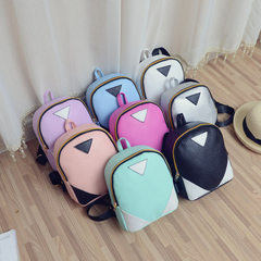 New Korean version backpack women`s backpack PU leather triangle splicing zipper women`s model backp white