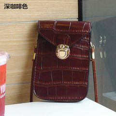 Mobile phone bag multifunctional retro fashion zero purse mini slanting women`s bag trend slanting w black