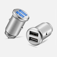 Mini QC3.0 new car charger fast charge zinc-alloy shell anti-fall dual USB car 3.0a car charger black