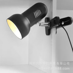 Plug - in simple bedroom bedside clip-on LED lamp creative eye protection dormitory desk learning to black