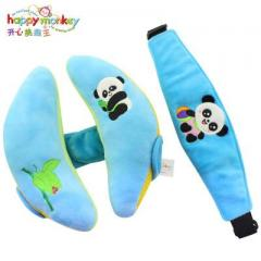 Happy Monkey baby headrest baby neck pillow car seat pillow for children aged 0-3 years old blue 25 cm