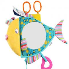 Hot selling baby fish mirror plush toy baby safety seat returned to the car rear view mirror wholesa 30 cm