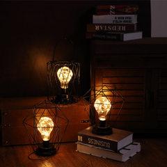 爆款复古铁艺小夜灯台灯造型工艺灯房间床头客厅书房装饰铜丝线灯 铁钻石