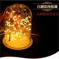 新款 实木底座浪漫LED氛围小夜灯火树银花玻璃罩灯卧室装饰情侣 3W