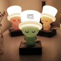 厂家直销定制图案 创意床头灯USB新奇特小夜灯led台灯 帽子台灯新 实粉黄
