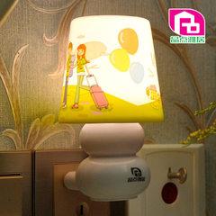 插电LED遥控创意智能小夜灯卧室床头灯婴儿喂奶灯 定时关灯 KT猫