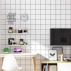 韩式北欧现代简约黑白方格子服装店壁纸卧室客厅无纺布墙纸 黑白格3305