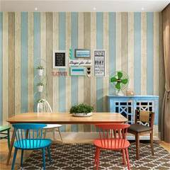 Mediterranean blue vertical stripes non-woven wallpaper wallpaper bedroom children`s room nostalgic  Warm beige 73601