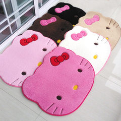 Lovely cartoon ground mat imitates lamb`s feather home to use mat bedroom door mat bedside blanket h Mei red cat 75 * 90 cm