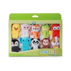 毛绒玩具益智玩偶公仔大象手偶手指娃娃互动玩偶公仔手指偶批发 蓝 6cm(十只装)