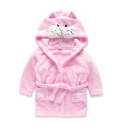 儿童睡袍 法兰绒卡通动物造型男童女童浴袍 宝宝睡衣 家居服睡衣 小猫 90建议80-100穿