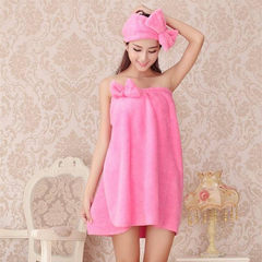 珊瑚绒浴裙 加厚加长超柔强吸水浴巾长绒抹胸扣式蝴蝶结女士浴袍 粉色
