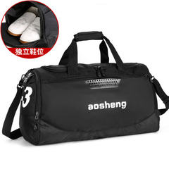 Travel bag short-distance luggage bag men`s bill of lading shoulder women`s exercise training bag fi Black white