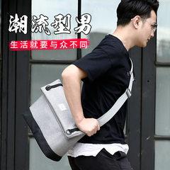 Men`s slanting satchel shoulder satchel youth leisure postman satchel Korean version of the fashion  Fashion dash grey