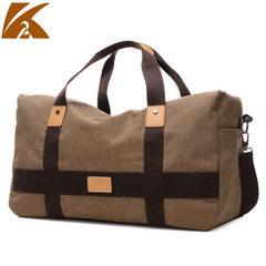 Korean version fashionable men`s bag leisure single shoulder bag canvas travel men`s laptop computer khaki