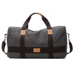 Men`s handbag travel outdoor large capacity single shoulder bag leisure fashion canvas bag black