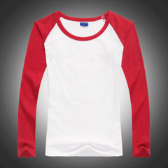 Women`s lycra cotton shoulder-inserted long-sleeve T-shirt custom LOGO class clothing advertising cu Raglan red s.