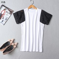 Ming wei women`s wear short sleeve T-shirt with round neck sleeve for summer 2018 White - dye [21170001] s.
