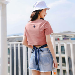 Photo taken 201895% cotton puller back with short sleeve T-shirt girl The picture color s.