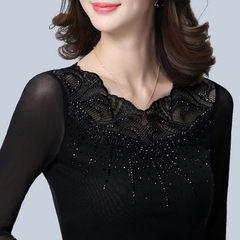 2018春秋长袖修身韩版短款镂空蕾丝衫上衣大码网纱打底衫纱衣黑色 黑色 S