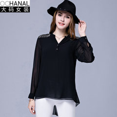 The new v-neck long-sleeved chiffon sweater of European and American large size women`s autumn wear  black l