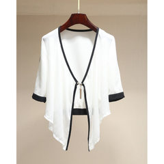 Her line of brand discount women`s chiffon blouse, spring 2018 new product, short five-point sleeved white s.
