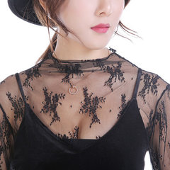 2018 spring and summer new lace net gauze dress base penetrating skin sexy dress turtleneck female white S (70-90),