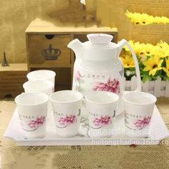 家用餐厅喝茶用具茶具咖啡具促销陶瓷壶高档商务送礼礼品陶瓷杯 花团锦簇