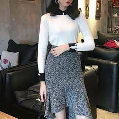 Qa-chun new style simple collar sleeve bump color sleeve head thick solid turtleneck knitwear wholes white All code