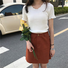 New spring style pure color wavy side short-sleeve knitwear women`s wear wholesale white All code