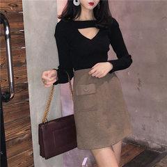 New style of spring season of ka you South Korea slim hollow-out v-neck sexy long-sleeved bottom kni black All code