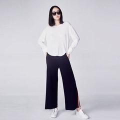 2018春季新款圆领套头上衣女 纯色拼接面料针织上衣8001 白色 S