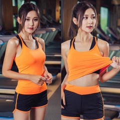 The new women`s fitness vest 2017 spring/summer yoga workout clothes fast dry running yoga clothes Orange vest s.