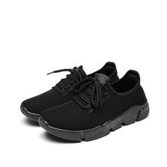 Autumn 2017 women`s shoes breathable sports shoes for lovers running light flat shoes with coconut s black 36