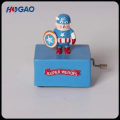 Creative American ZAKKA decorative furnishings captain America hand-shake music box resin crafts gif color 10 cm
