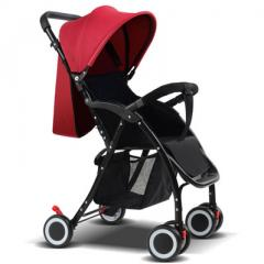 Baby strollers can sit on the super light and high view folding four-wheel stroller 0-2 year old bab Standard wine red