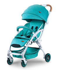 Baby stroller D198 baby stroller shock absorber folding baby stroller with mosquito net portable can The Nordic green