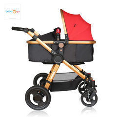 BabyGo baby strollers can sit on a foldable, two-way four-wheel shock absorber portable baby strolle red