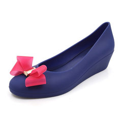 Summer 2018 slope heel sandals female pointed bow jelly shoes leisure shallow mouth waterproof platf Blue and mei red 36