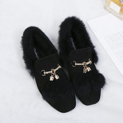 2017 winter Korean version of rabbit with tassel and feather square head single shoe female flat met black 40