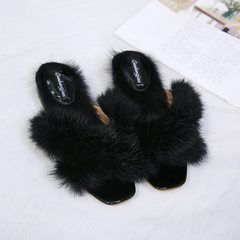 In the fall of 2017, the new Korean version of rabbit hair cross slippers, women`s hair, flat bottom black 35