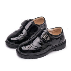 2018 summer boys black leather shoes single shoe children British style baby schoolboy flower girl b Black Velcro 26